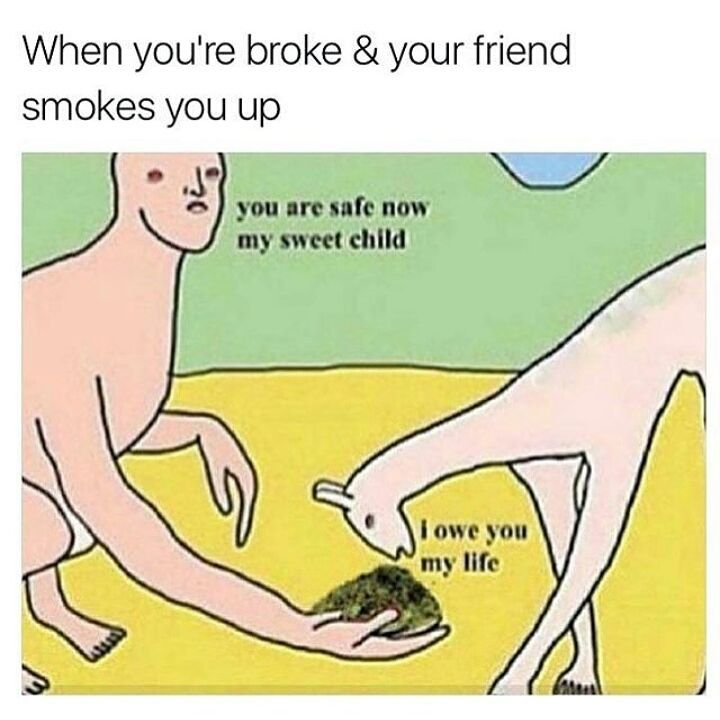 When you're broke and your friend smokes you up :)