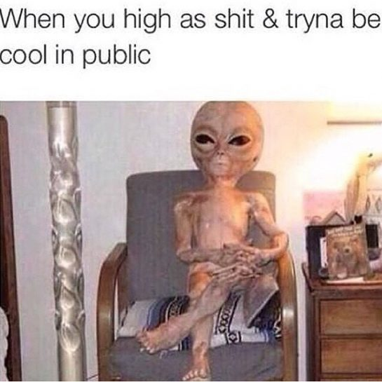 When you high as shit and tryna be cool in public