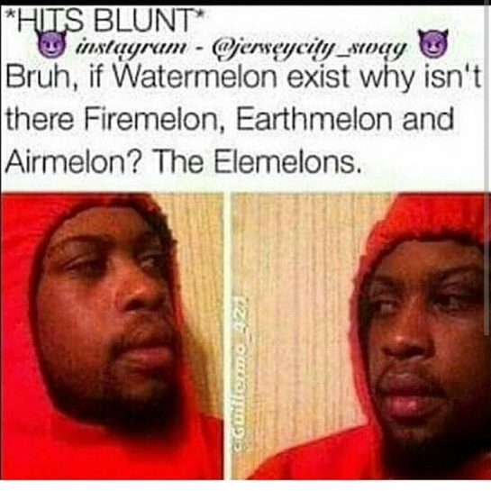 *hits blunt* Bruh, if watermelon exists why isn't there firemelon, earthmelon and airmelon? The Elemelons...