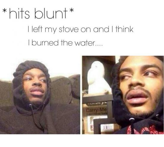 *hits blunt* I left my stove on and I think I burned the water