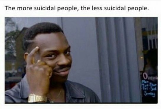 The more suicidal people, the less suicidal people.