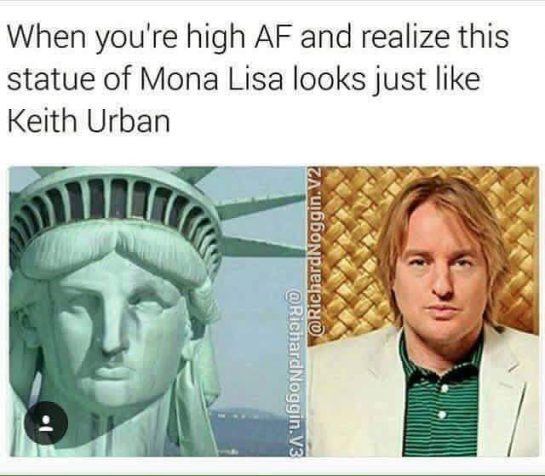 When you're high af and realize this statue of Mona Lisa looks just like Keith Urban