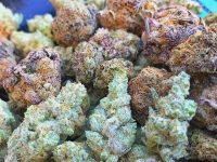 Purple red green crystalized nugs
