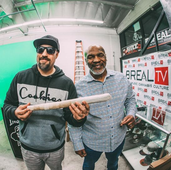 Two legends rolling up before an epic #SmokeBox at @BrealTv 🥊 @Breal and @MikeTyson…