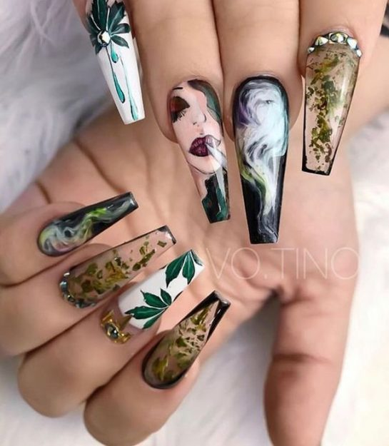 Ok ladies – another nail design for ya!⠀ .⠀ .⠀ .⠀ #marijuanahumor #marijuanaart #cannabislife…