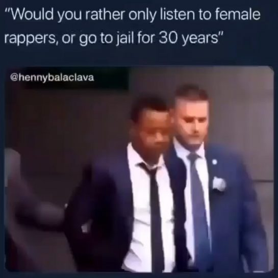 """name a female football player or you have to go to jail"" – #rap…"