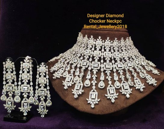 Exclusive Designer Hi-Quality Designer Diamond Chocker Necklace available for Rent For more Details call…