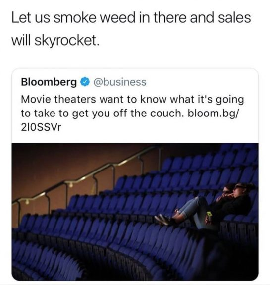 Would you go to a movie theater you could smoke in? ️Double Tap &…