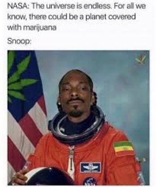 If Snoop finds it I'm there! Just imagine a planet covered with weed! That…