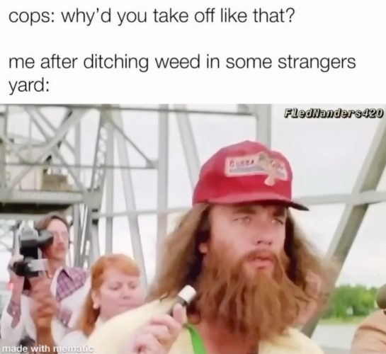 just felt like running. #stonedmemes #stonedtothebone as I was driving one day—accompanied by a…