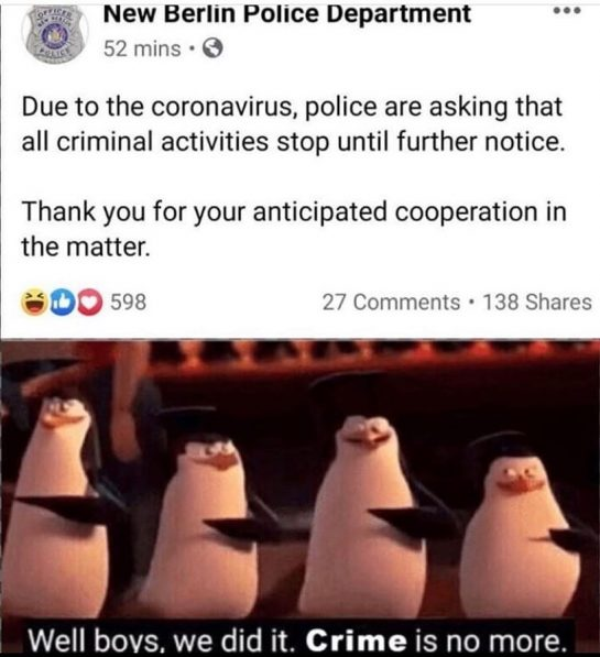 Them: Crime, STOP RIGHT NOW!! 🤚 Crime: Ight imma head out ️ . .…