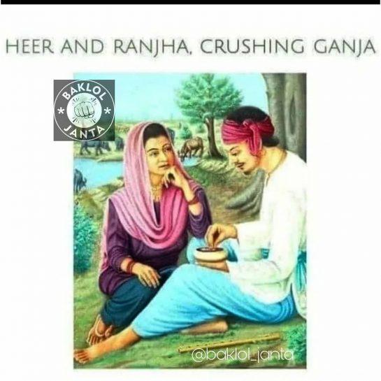 Heer & Ranjha . . . #weedmeme #weed #weedmemes #memes #meme #cannabis #weedporn #stoner…